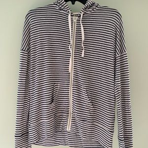 Black and White Striped Hooded Zip Up Sweatshirt